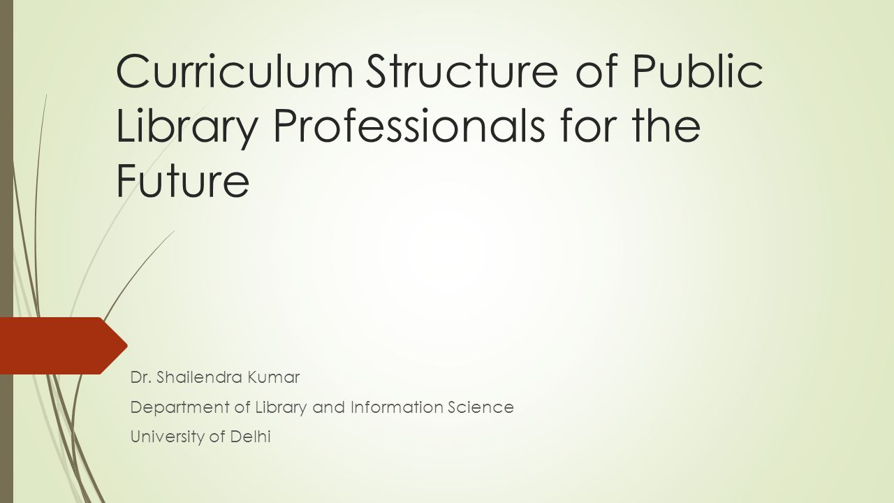 Curriculum Structure of Public Library Professionals for the Future Dr. Shailendra Kumar Department of Library and Information Science University of D