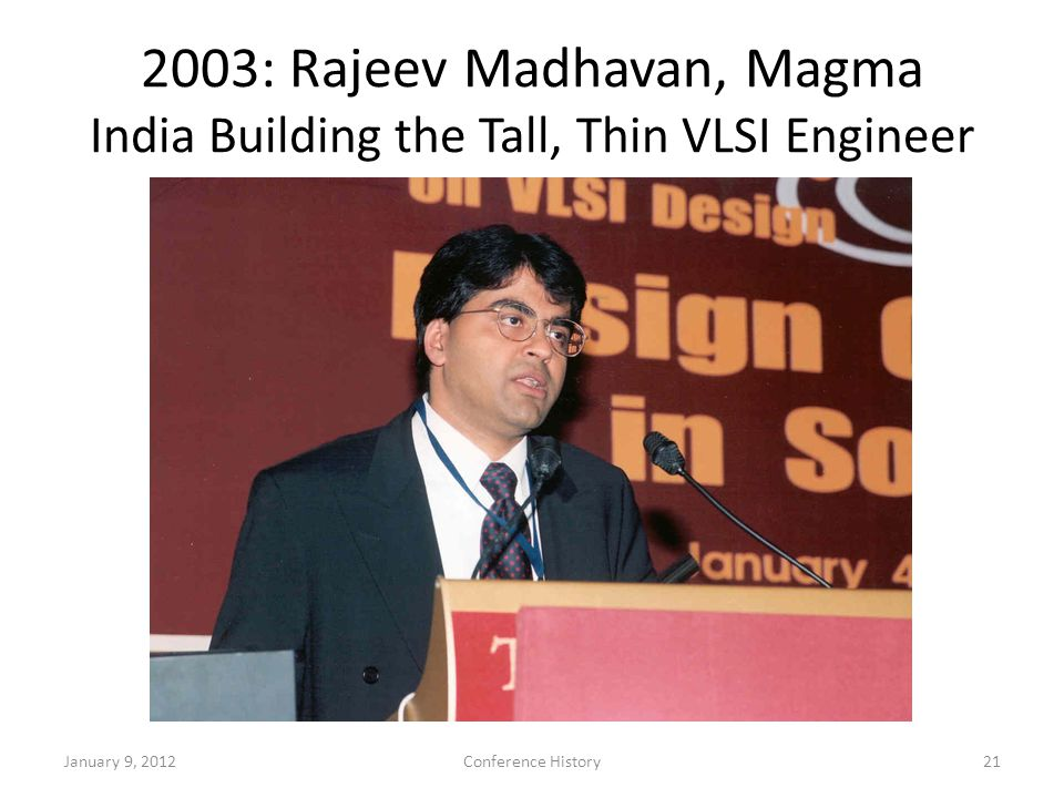 2003: Rajeev Madhavan, Magma India Building the Tall, Thin VLSI Engineer January 9, 2012Conference History21