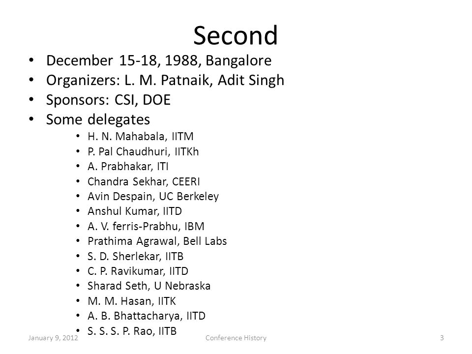 Second December 15-18, 1988, Bangalore Organizers: L.