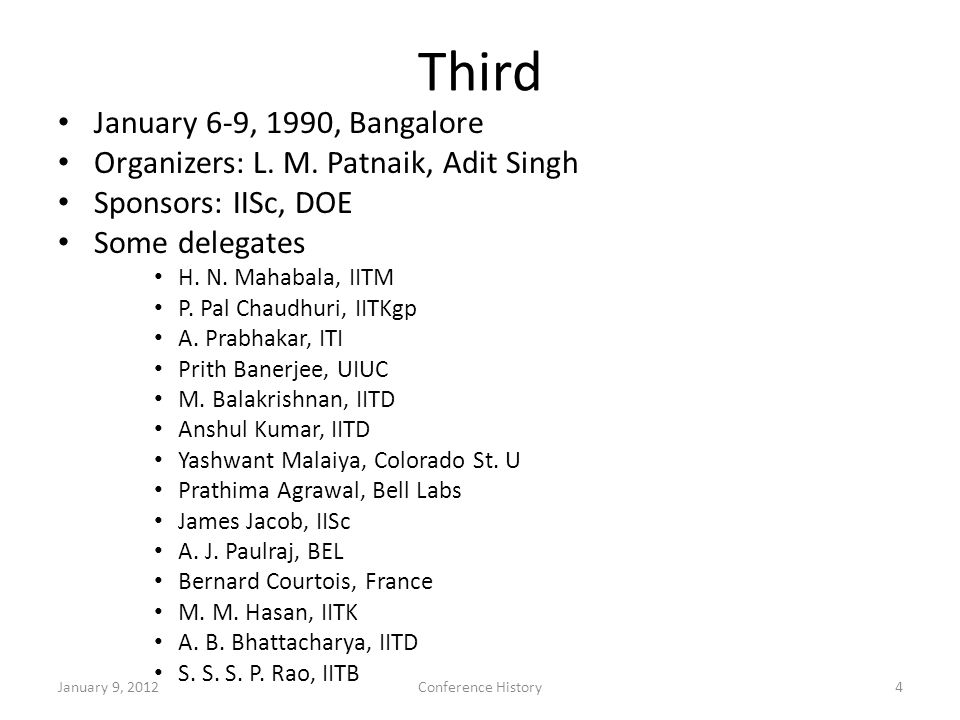 Third January 6-9, 1990, Bangalore Organizers: L. M.