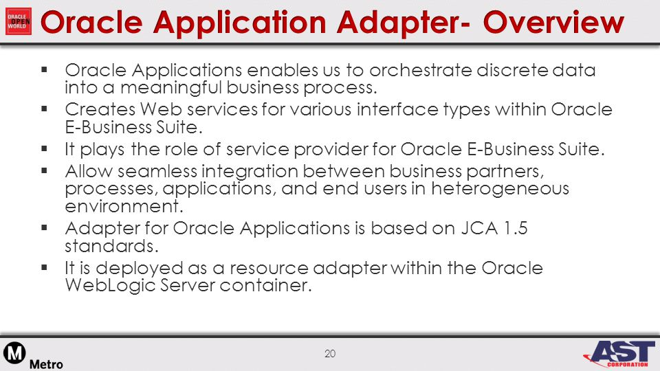 20  Oracle Applications enables us to orchestrate discrete data into a meaningful business process.