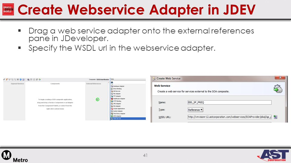 41  Drag a web service adapter onto the external references pane in JDeveloper.
