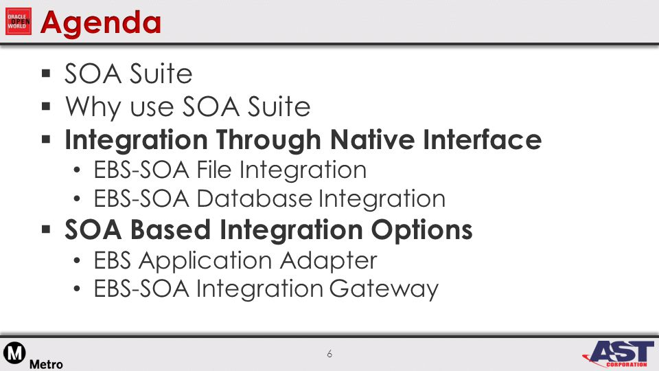 6  SOA Suite  Why use SOA Suite  Integration Through Native Interface EBS-SOA File Integration EBS-SOA Database Integration  SOA Based Integration Options EBS Application Adapter EBS-SOA Integration Gateway