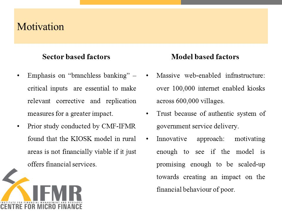 "Motivation Sector based factors Emphasis on ""branchless banking"" – critical inputs are essential to make relevant corrective and replication measures"