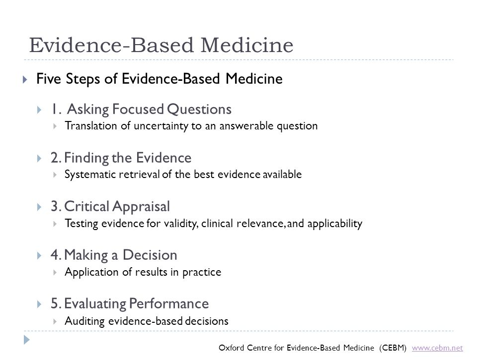 Evidence-Based Medicine  Five Steps of Evidence-Based Medicine  1. Asking Focused Questions  Translation of uncertainty to an answerable question 