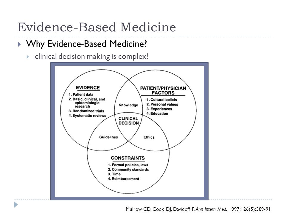 Evidence-Based Medicine  Why Evidence-Based Medicine?  clinical decision making is complex! Mulrow CD, Cook DJ, Davidoff F. Ann Intern Med. 1997;126