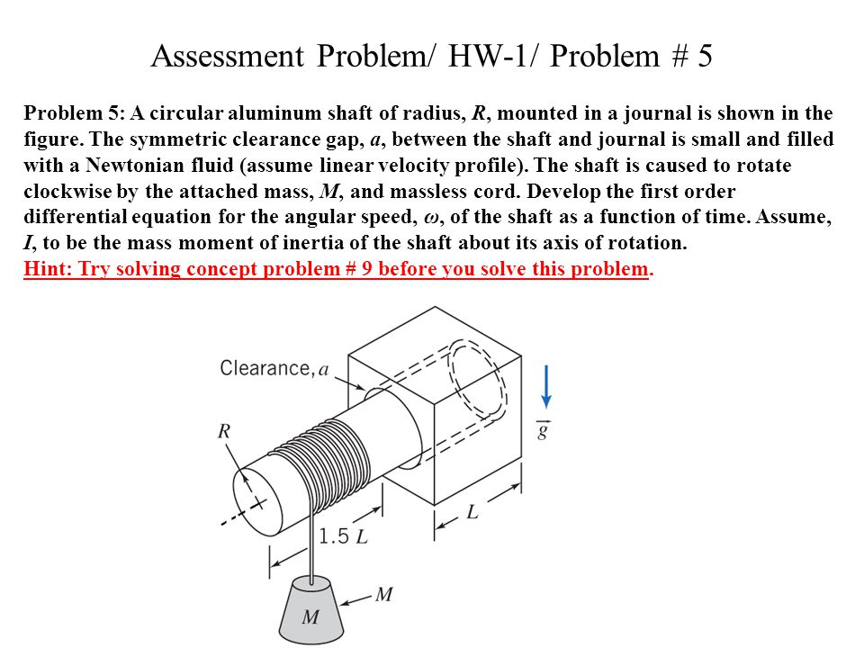 Assessment Problem/ HW-1/ Problem # 5 Problem 5: A circular aluminum shaft of radius, R, mounted in a journal is shown in the figure.