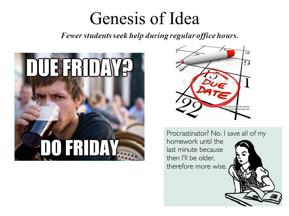 Genesis of Idea Fewer students seek help during regular office hours.