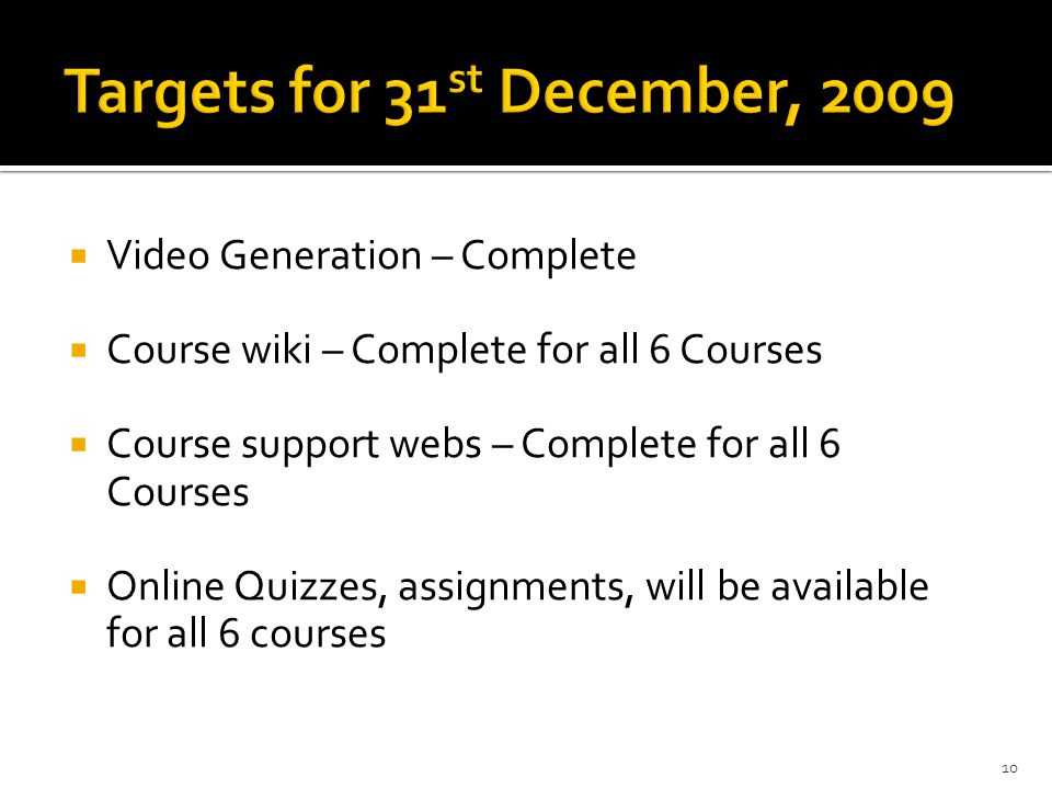  Video Generation – Complete  Course wiki – Complete for all 6 Courses  Course support webs – Complete for all 6 Courses  Online Quizzes, assignments, will be available for all 6 courses 10