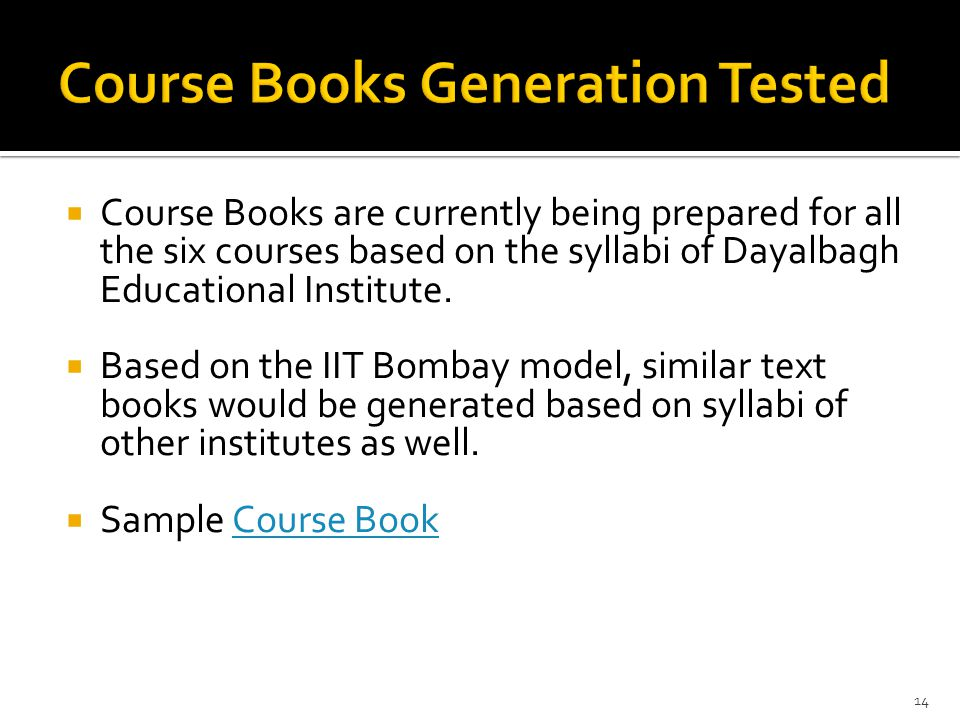  Course Books are currently being prepared for all the six courses based on the syllabi of Dayalbagh Educational Institute.