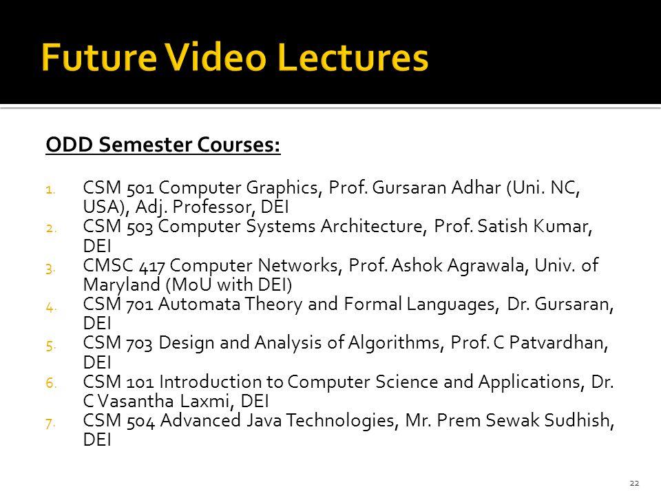 ODD Semester Courses: 1. CSM 501 Computer Graphics, Prof. Gursaran Adhar (Uni. NC, USA), Adj. Professor, DEI 2. CSM 503 Computer Systems Architecture,