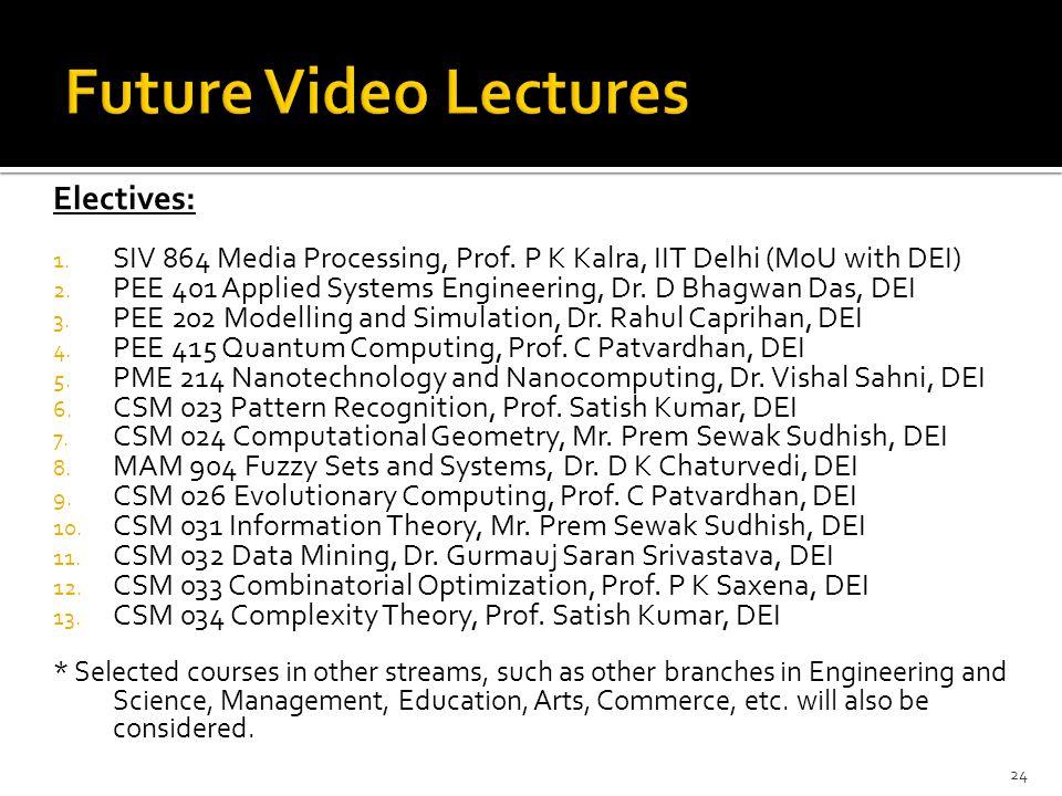 Electives: 1. SIV 864 Media Processing, Prof. P K Kalra, IIT Delhi (MoU with DEI) 2. PEE 401 Applied Systems Engineering, Dr. D Bhagwan Das, DEI 3. PE