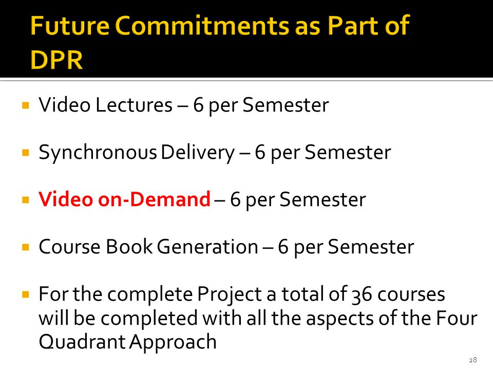  Video Lectures – 6 per Semester  Synchronous Delivery – 6 per Semester  Video on-Demand – 6 per Semester  Course Book Generation – 6 per Semester  For the complete Project a total of 36 courses will be completed with all the aspects of the Four Quadrant Approach 28
