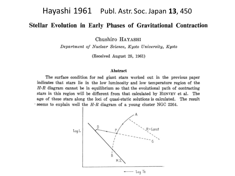 Hayashi 1961 Publ. Astr. Soc. Japan 13, 450