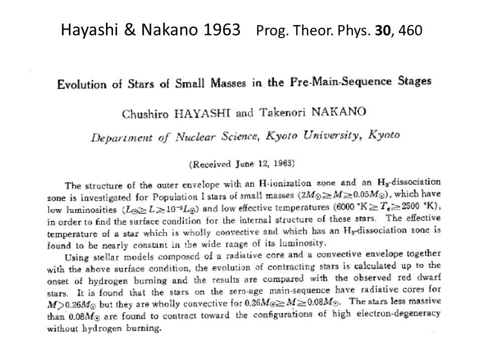 Hayashi & Nakano 1963 Prog. Theor. Phys. 30, 460
