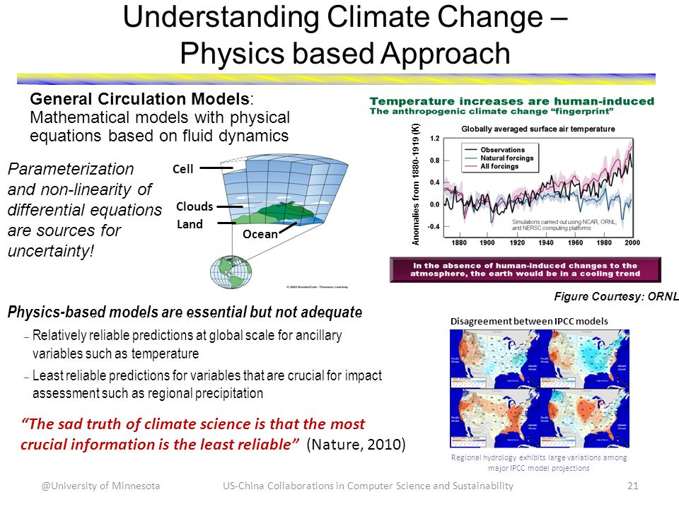 Understanding Climate Change – Physics based Approach The sad truth of climate science is that the most crucial information is the least reliable (Nature, 2010) Physics-based models are essential but not adequate – Relatively reliable predictions at global scale for ancillary variables such as temperature – Least reliable predictions for variables that are crucial for impact assessment such as regional precipitation Regional hydrology exhibits large variations among major IPCC model projections Disagreement between IPCC models US-China Collaborations in Computer Science and Sustainability21@University of Minnesota General Circulation Models: Mathematical models with physical equations based on fluid dynamics Figure Courtesy: ORNL Anomalies from 1880-1919 (K) Parameterization and non-linearity of differential equations are sources for uncertainty.