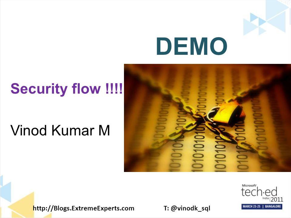 http://Blogs.ExtremeExperts.comT: @vinodk_sql DEMO Security flow !!!! Vinod Kumar M