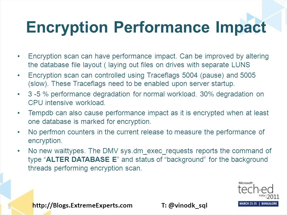 http://Blogs.ExtremeExperts.comT: @vinodk_sql Encryption Performance Impact Encryption scan can have performance impact.