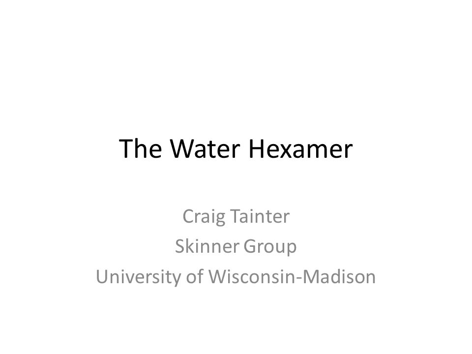 The Water Hexamer Craig Tainter Skinner Group University of Wisconsin-Madison