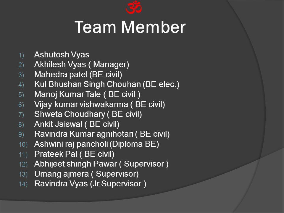 Team Member 1) Ashutosh Vyas 2) Akhilesh Vyas ( Manager) 3) Mahedra patel (BE civil) 4) Kul Bhushan Singh Chouhan (BE elec.) 5) Manoj Kumar Tale ( BE civil ) 6) Vijay kumar vishwakarma ( BE civil) 7) Shweta Choudhary ( BE civil) 8) Ankit Jaiswal ( BE civil) 9) Ravindra Kumar agnihotari ( BE civil) 10) Ashwini raj pancholi (Diploma BE) 11) Prateek Pal ( BE civil) 12) Abhijeet shingh Pawar ( Supervisor ) 13) Umang ajmera ( Supervisor) 14) Ravindra Vyas (Jr.Supervisor )