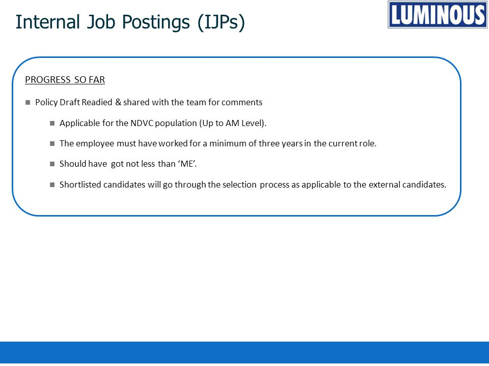 Internal Job Postings (IJPs) PROGRESS SO FAR Policy Draft Readied & shared with the team for comments Applicable for the NDVC population (Up to AM Lev