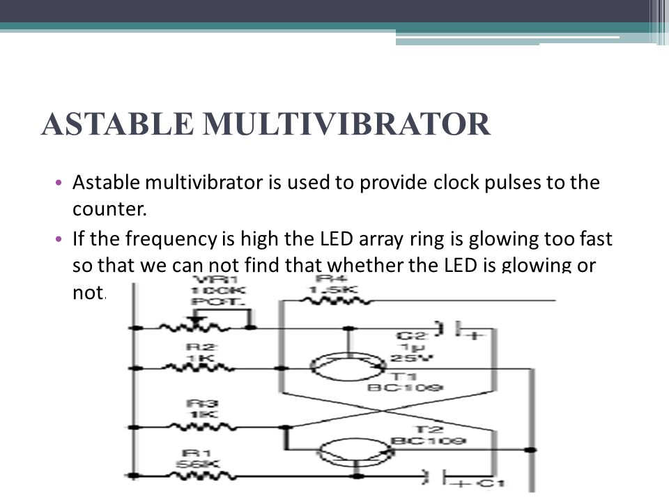 ASTABLE MULTIVIBRATOR Astable multivibrator is used to provide clock pulses to the counter. If the frequency is high the LED array ring is glowing too