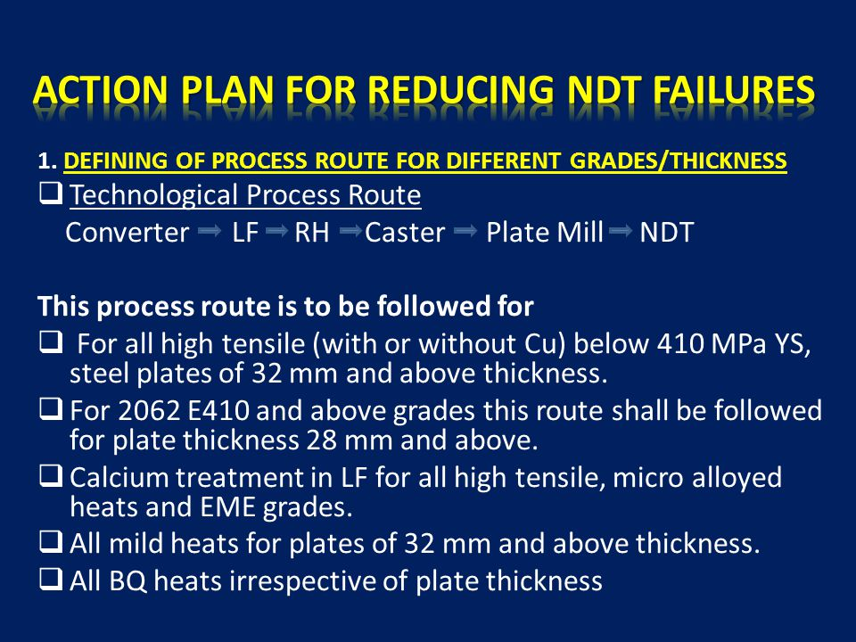 1. DEFINING OF PROCESS ROUTE FOR DIFFERENT GRADES/THICKNESS  Technological Process Route Converter LF RH Caster Plate Mill NDT This process route is