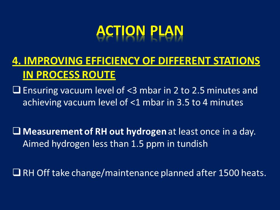4. IMPROVING EFFICIENCY OF DIFFERENT STATIONS IN PROCESS ROUTE  Ensuring vacuum level of <3 mbar in 2 to 2.5 minutes and achieving vacuum level of <1