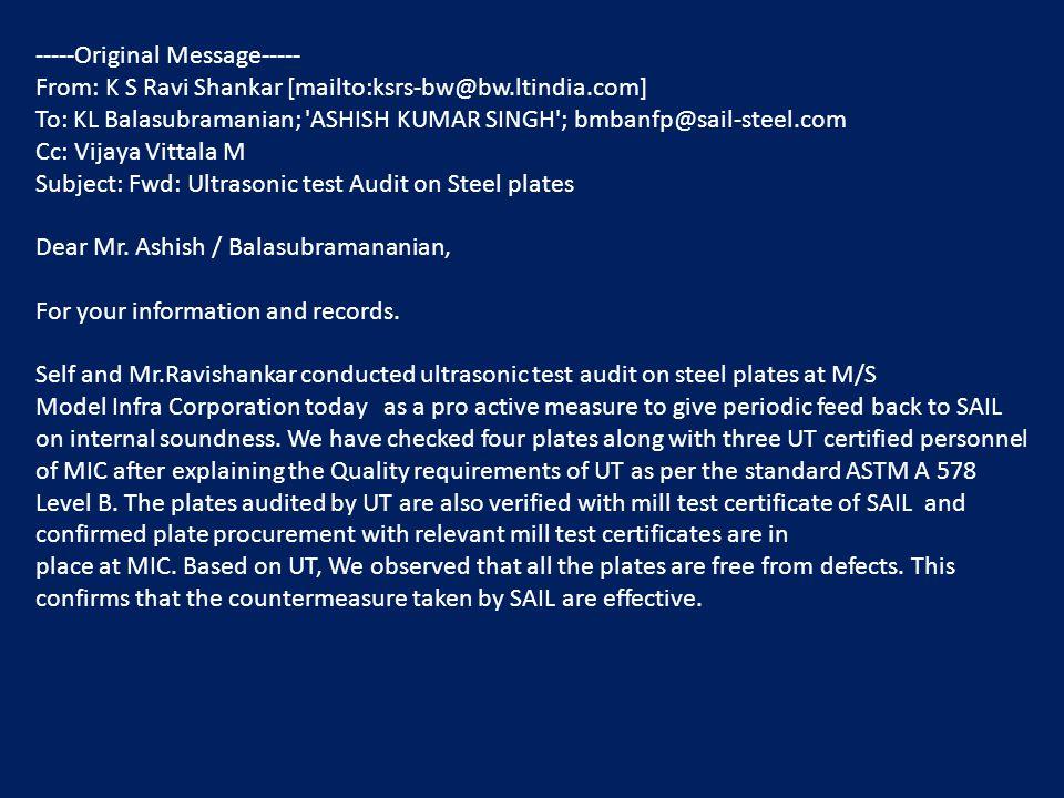 -----Original Message----- From: K S Ravi Shankar [mailto:ksrs-bw@bw.ltindia.com] To: KL Balasubramanian; 'ASHISH KUMAR SINGH'; bmbanfp@sail-steel.com