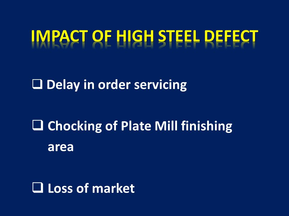  Delay in order servicing  Chocking of Plate Mill finishing area  Loss of market