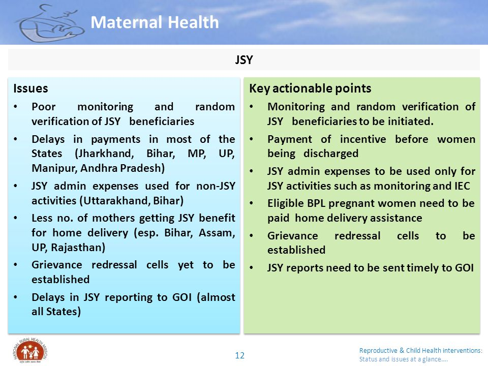 Reproductive & Child Health interventions : Status and issues at a glance…. Maternal Health Issues Poor monitoring and random verification of JSY bene