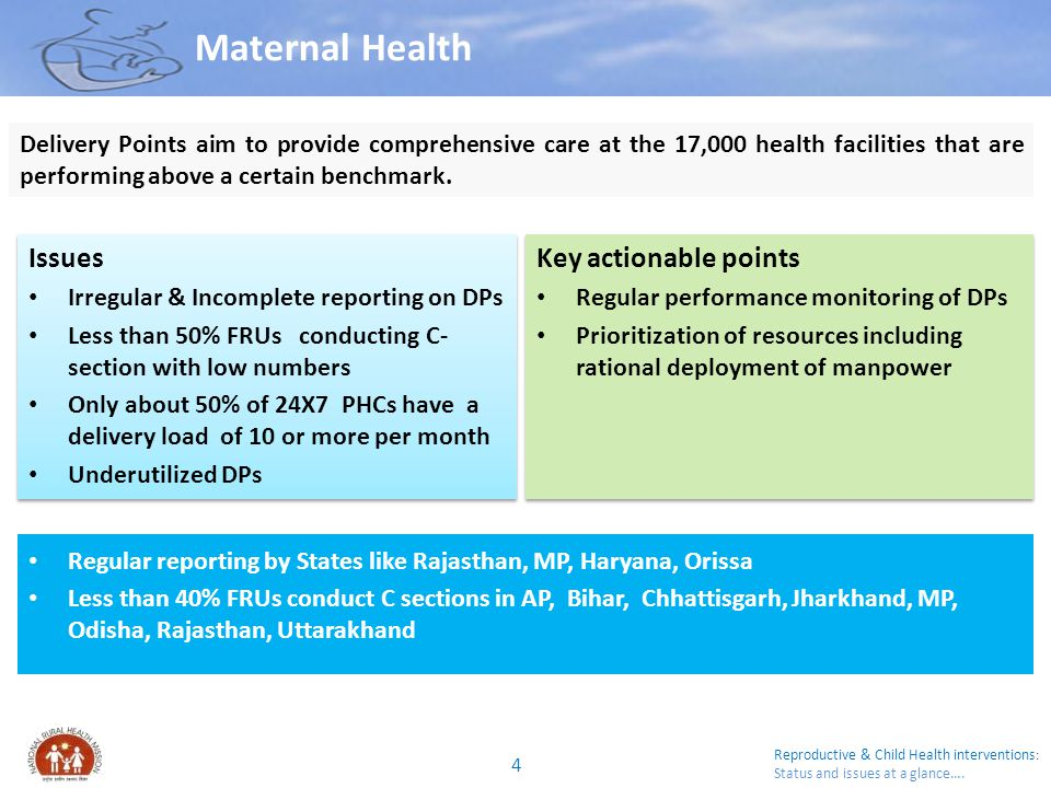 Reproductive & Child Health interventions : Status and issues at a glance…. Maternal Health Issues Irregular & Incomplete reporting on DPs Less than 5