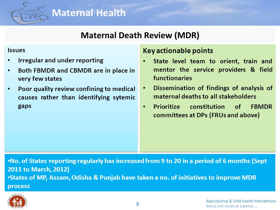 Reproductive & Child Health interventions : Status and issues at a glance….