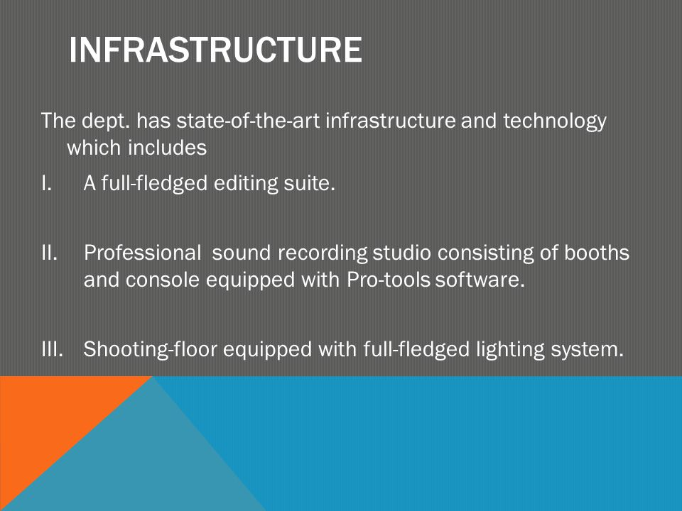 INFRASTRUCTURE The dept. has state-of-the-art infrastructure and technology which includes I.A full-fledged editing suite. II.Professional sound recor