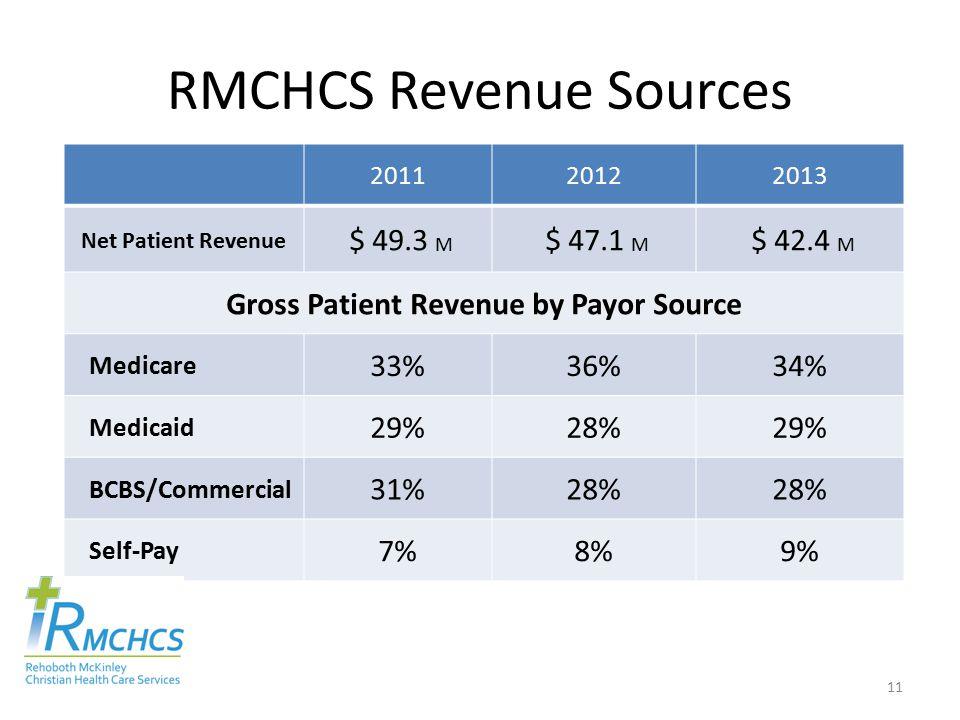 RMCHCS Revenue Sources 201120122013 Net Patient Revenue $ 49.3 M $ 47.1 M $ 42.4 M Gross Patient Revenue by Payor Source Medicare 33%36%34% Medicaid 29%28%29% BCBS/Commercial 31%28% Self-Pay 7%8%9% 11