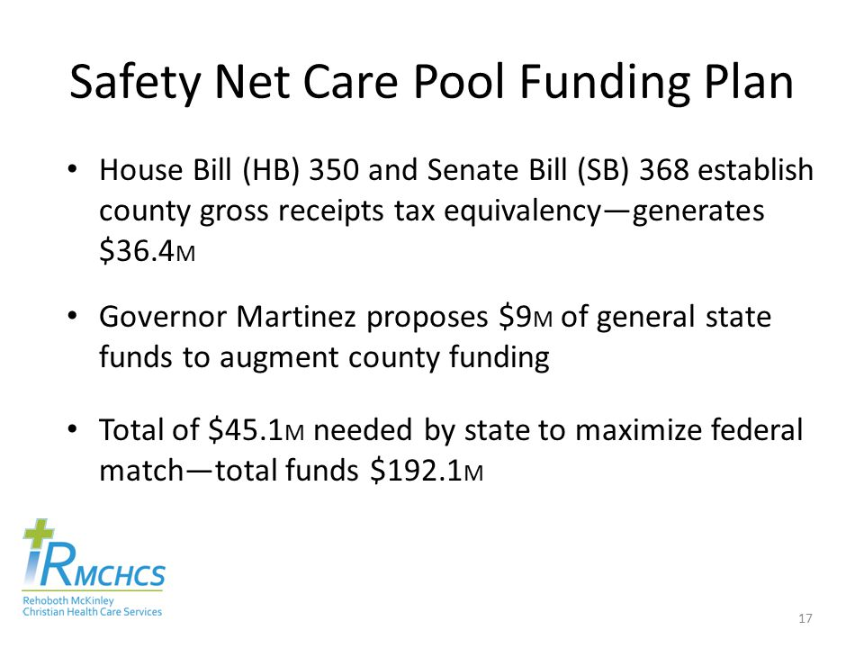 Safety Net Care Pool Funding Plan House Bill (HB) 350 and Senate Bill (SB) 368 establish county gross receipts tax equivalency—generates $36.4 M Governor Martinez proposes $9 M of general state funds to augment county funding Total of $45.1 M needed by state to maximize federal match—total funds $192.1 M 17