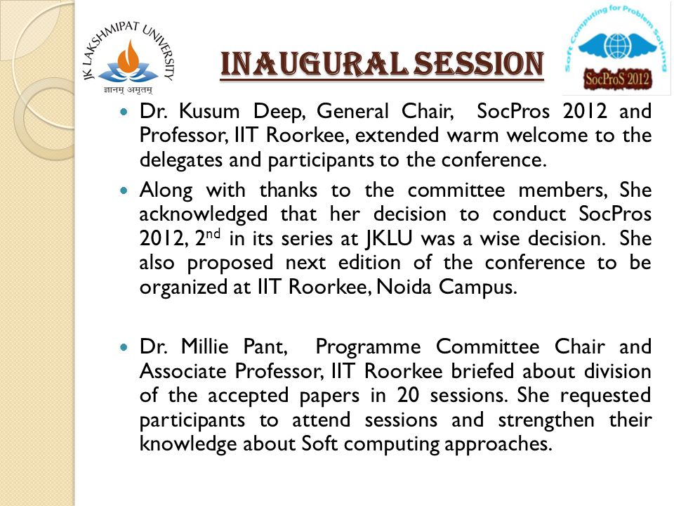 Inaugural SESSION Dr.