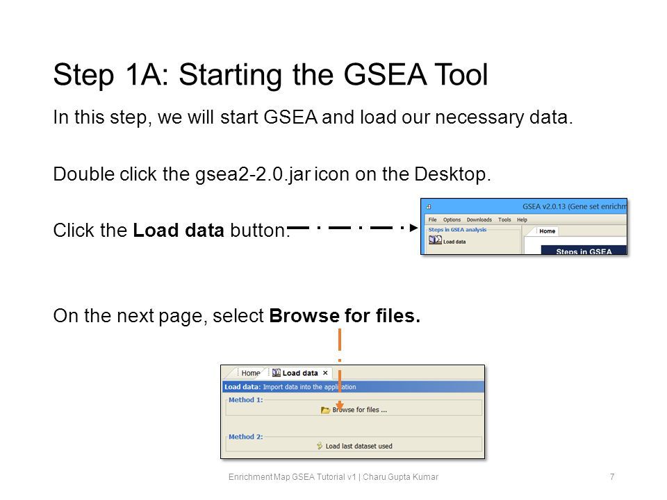 Step 1B: Starting the GSEA Tool In the file browser, navigate to our shared directory at classes/mayo/gupta/.