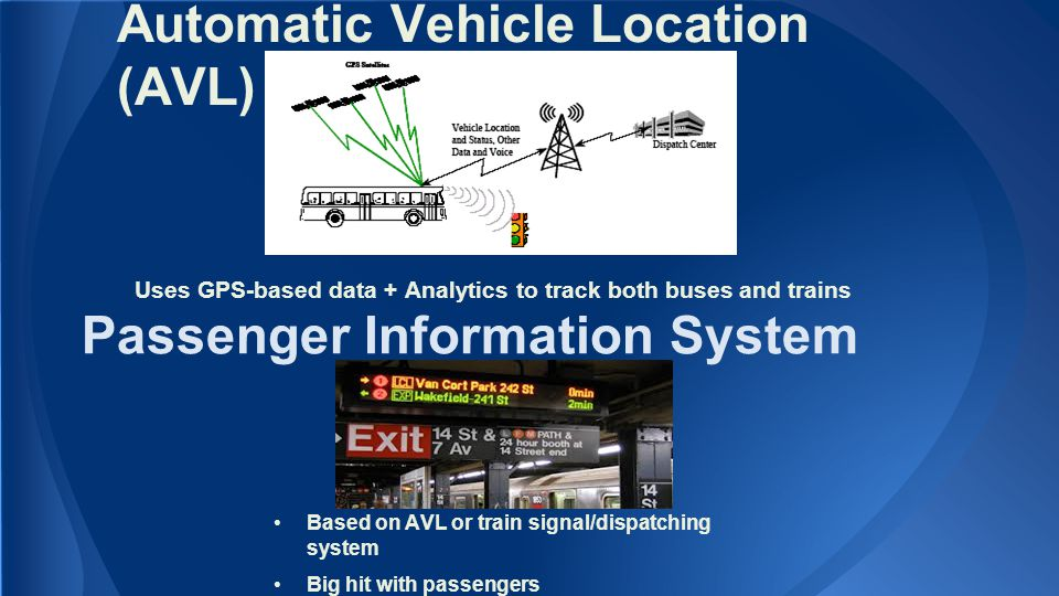 Automatic Vehicle Location (AVL) Uses GPS-based data + Analytics to track both buses and trains Passenger Information System Based on AVL or train signal/dispatching system Big hit with passengers