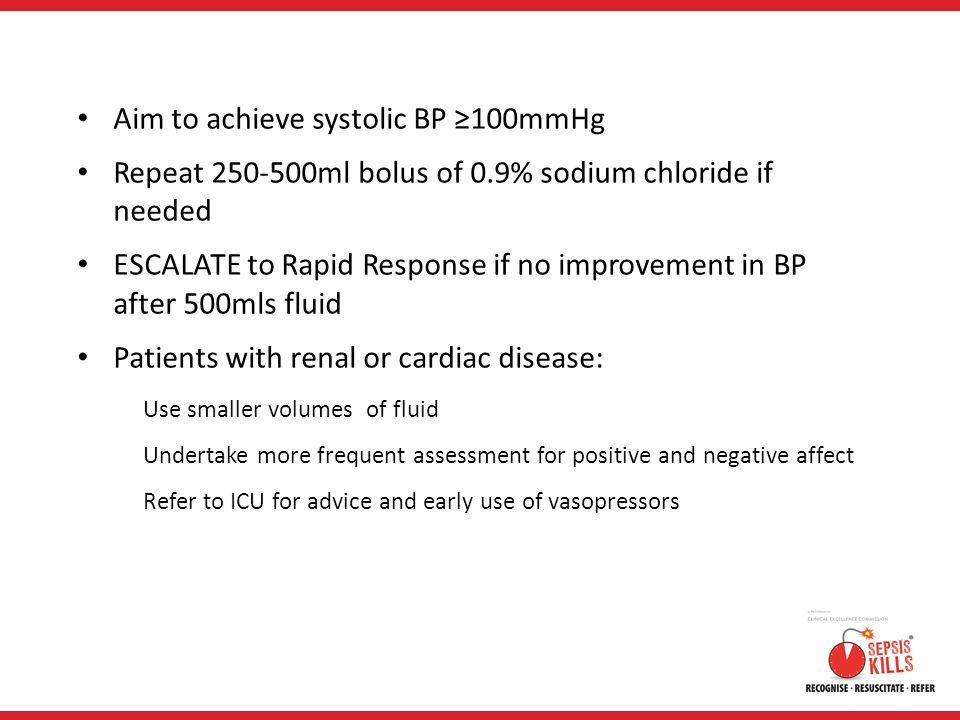 Aim to achieve systolic BP ≥100mmHg Repeat 250-500ml bolus of 0.9% sodium chloride if needed ESCALATE to Rapid Response if no improvement in BP after