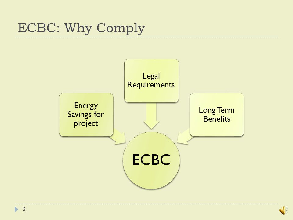 ECBC: Provisions ECBC provisions apply to: Building envelopeMechanical systems and equipmentService hot water heatingInterior and exterior lightingElectrical power and motors 13