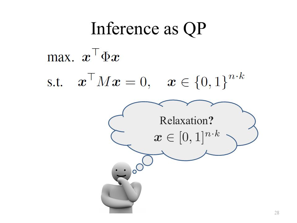 Inference as QP 28 Relaxation