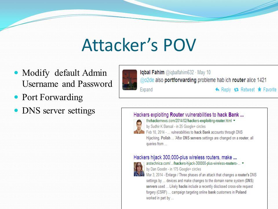 Attacker's POV Modify default Admin Username and Password Port Forwarding DNS server settings
