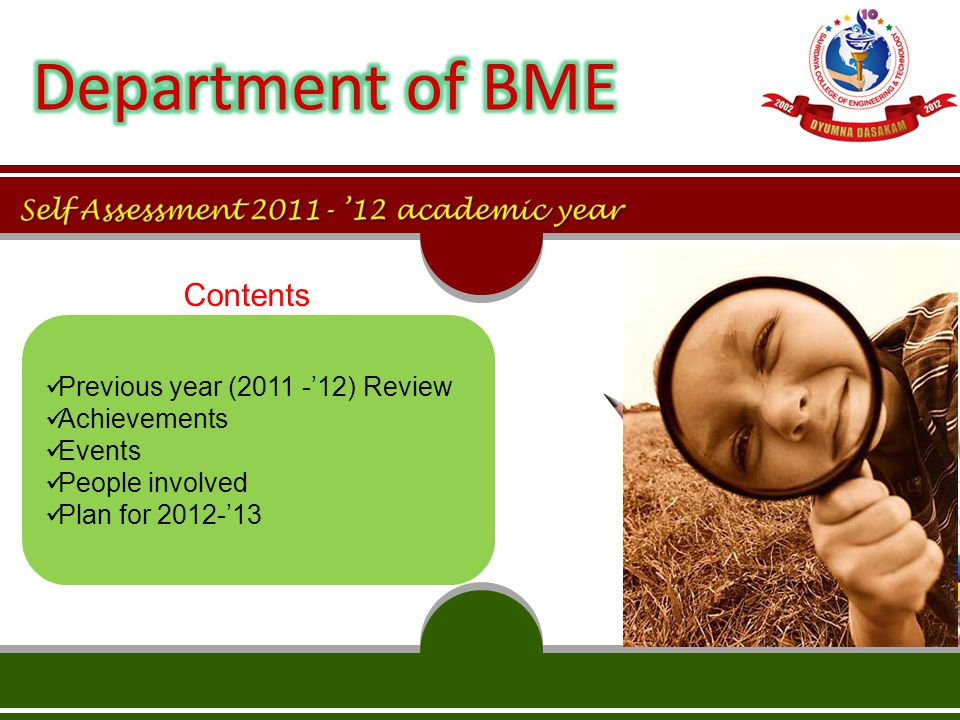 Contents Previous year (2011 -'12) Review Achievements Events People involved Plan for 2012-'13