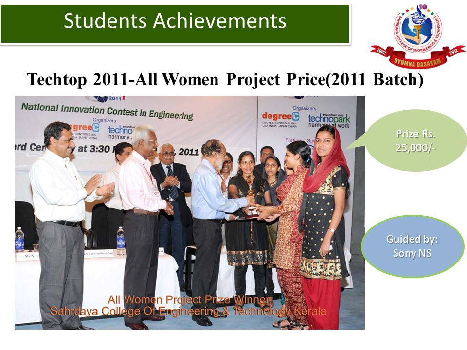 Techtop 2011-All Women Project Price(2011 Batch) Students Achievements Prize Rs. 25,000/- Guided by: Sony NS