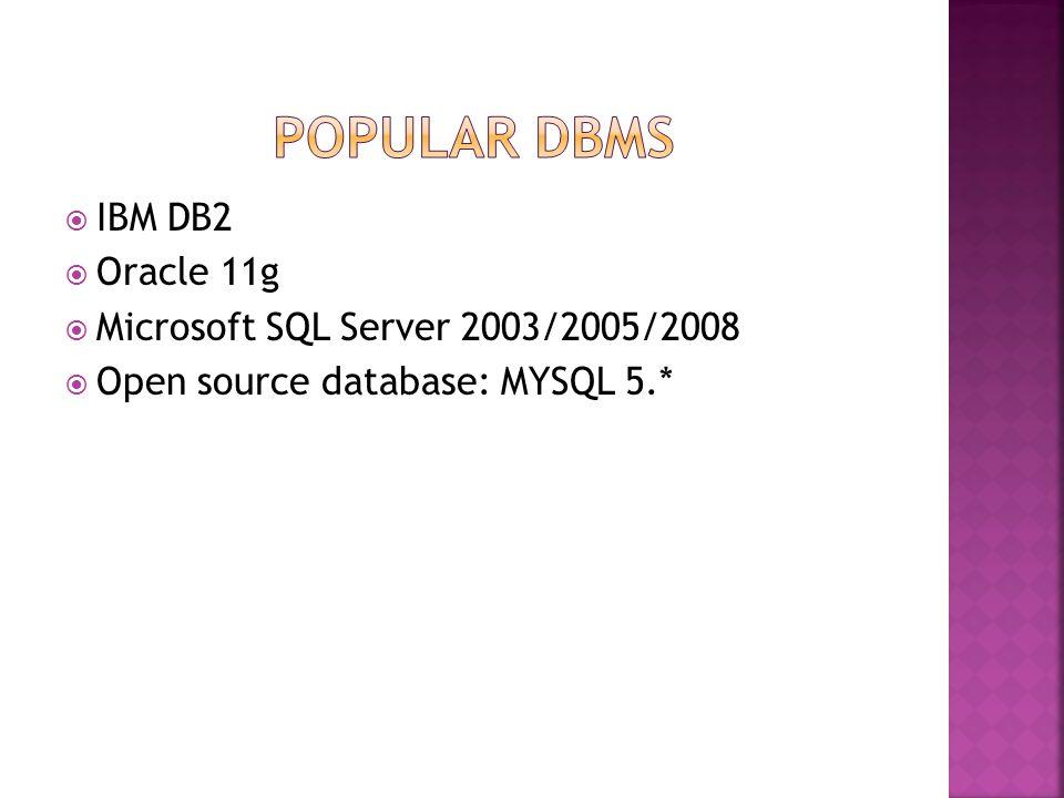  IBM DB2  Oracle 11g  Microsoft SQL Server 2003/2005/2008  Open source database: MYSQL 5.*