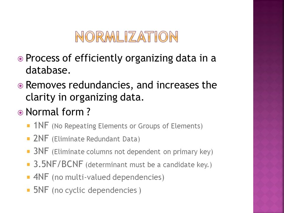  Process of efficiently organizing data in a database.