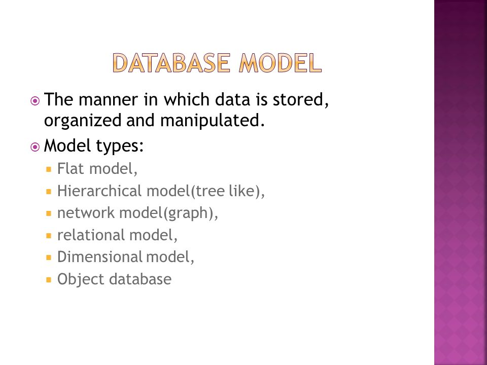  Database used for reporting  Three layers functionality  Staging is used to store raw data  Integration to have a level of abstraction from users  Access layer is for getting data out for users