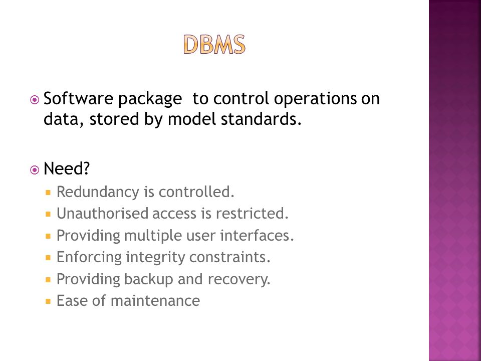  Software package to control operations on data, stored by model standards.