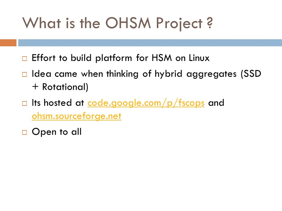 What is the OHSM Project .